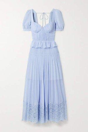 Self Portrait Corded Lace-trimmed Plisse-chiffon Midi Dress - Blue