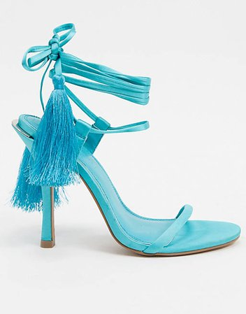 ASOS DESIGN Nellie strappy tassel heeled sandals in blue | ASOS
