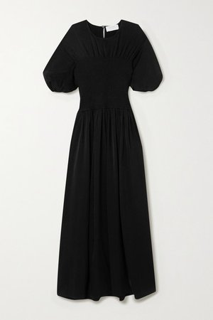 Smocked Crepe Dress - Black