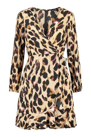 Leopard Print Skater Dress | boohoo