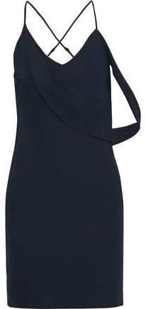 Open-back Draped Crepe Mini Slip Dress