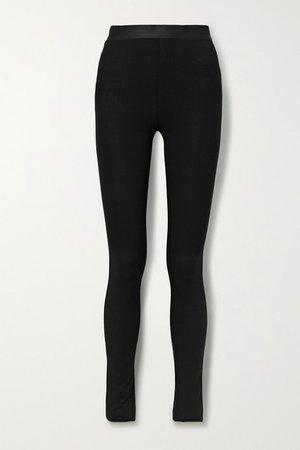 Stretch Wool-blend Leggings - Black