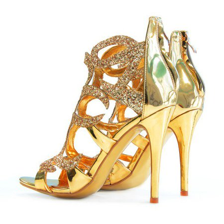Gold Evening Shoes Cage Sandals 5 Inches Stiletto Heels Glitter Shoes for Music festival, Date, Big day, Red carpet   FSJ