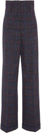 Alberta Ferretti Prince Of Wales High-Rise Cotton-Blend Pants