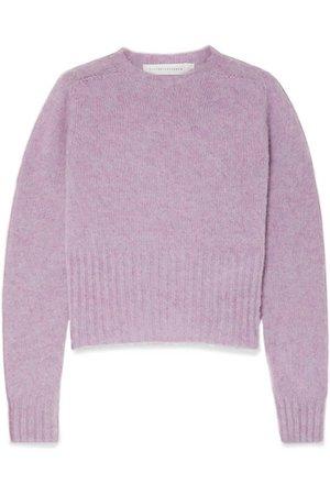 Victoria Beckham   Cropped mélange wool sweater   NET-A-PORTER.COM