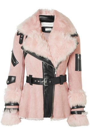 Alexander McQueen | Leather-trimmed shearling biker jacket | NET-A-PORTER.COM