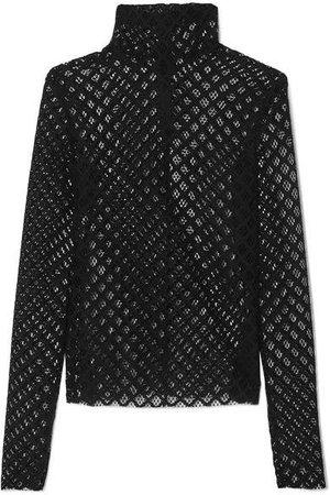 Lace Turtleneck Top - Black