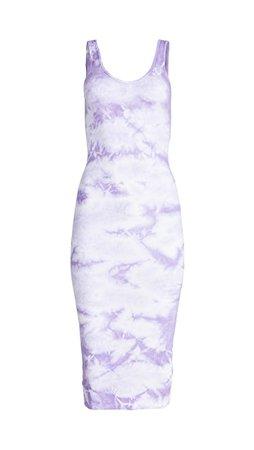 Enza Costa Rib Tank Dress Tie Dye lavendar