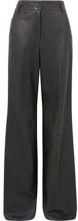 Wide-leg Leather Pants - Green
