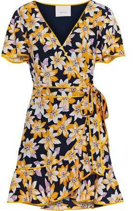 Cameron Floral-print Silk Crepe De Chine Mini Wrap Dress