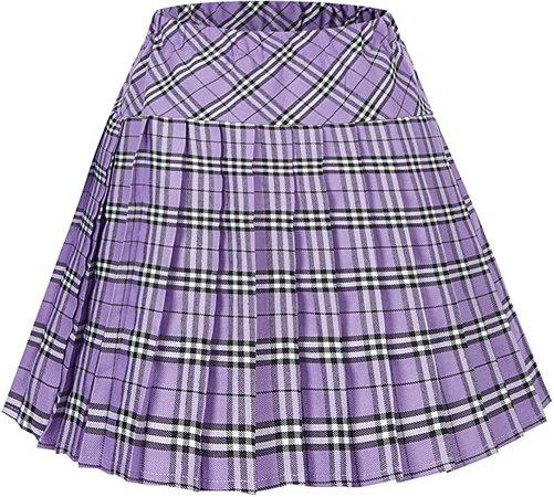 Women's Elastic Waist Plaid Pleated Skirt Tartan Skater School Uniform Mini Skirts (Series 20, 2XL) at Amazon Women's Clothing store