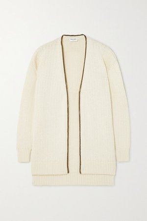 SAINT LAURENT | Chain-embellished knitted cardigan | NET-A-PORTER.COM