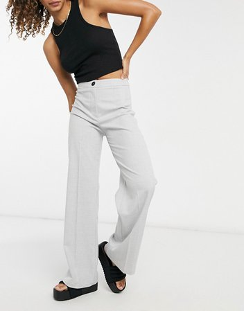 Grey Check Wide Leg Trousers - Bershka