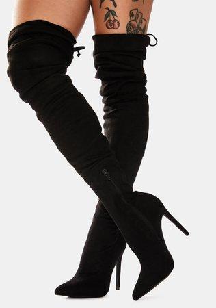 Vegan Suede Stiletto Thigh High Boots - Black   Dolls Kill