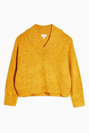 Mustard Super Soft V Neck Jumper | Topshop