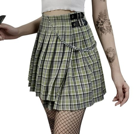 Solvor Plaid Mini A-Line Pleated Skirt | YesStyle