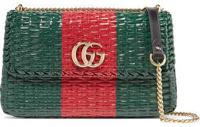 Linea Cestino Leather-trimmed Coated-wicker Shoulder Bag - Green