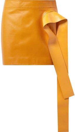 Draped Leather Mini Skirt - Orange