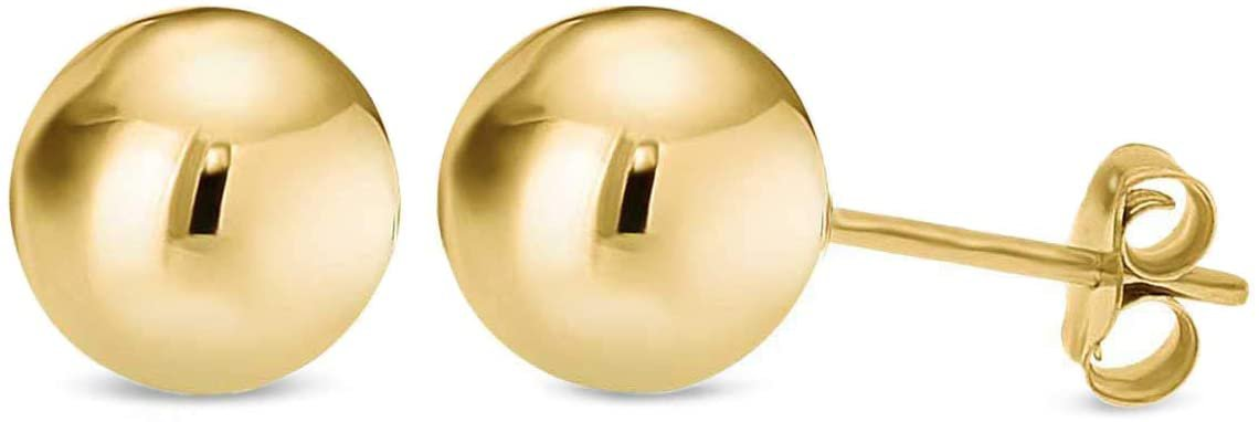Amazon.com: 14K Yellow Gold Filled Round Ball Stud Earrings Pushback 3mm: Jewelry