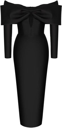Rasario Cutout Satin Off-The-Shoulder Midi Dress
