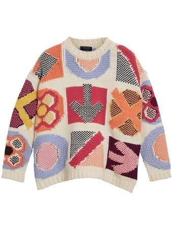 Burberry motif intarsia wool cashmere blend sweater