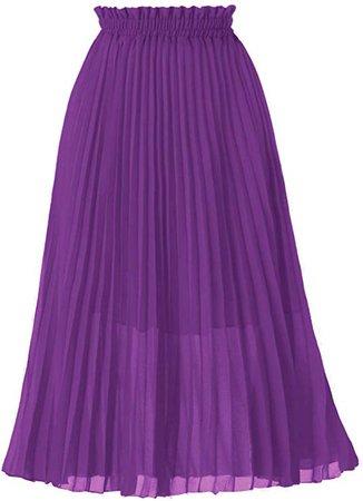 GOOBGS Women's Pleated A-Line High Waist Swing Flare Midi Skirt at Amazon Women's Clothing store