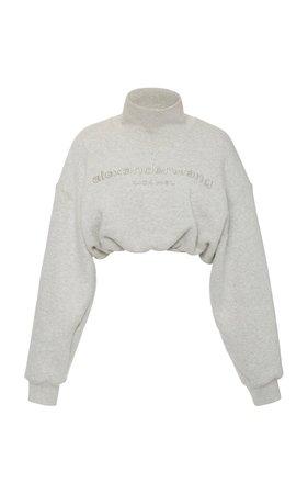 Embroidered Cropped Cotton Mock-Neck Sweatshirt by Alexander Wang | Moda Operandi
