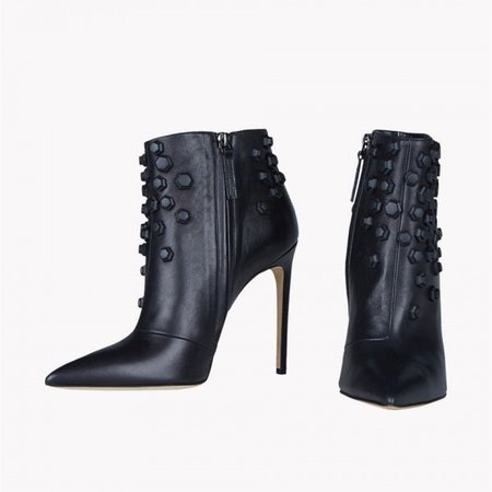 Black Studs Shoes Pointy Toe Stiletto Heel Fashion Ankle Booties for Work, Dancing club, Music festival, Date | FSJ