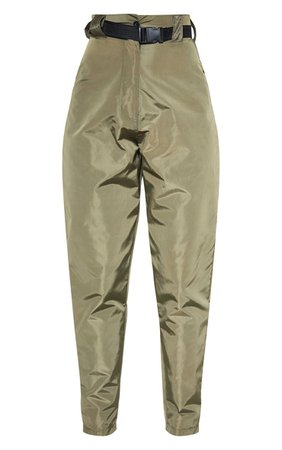 Khaki Shell Belted Cigarette Trouser | PrettyLittleThing USA