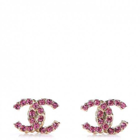 CHANEL Crystal CC Earrings Gold Pink 262021