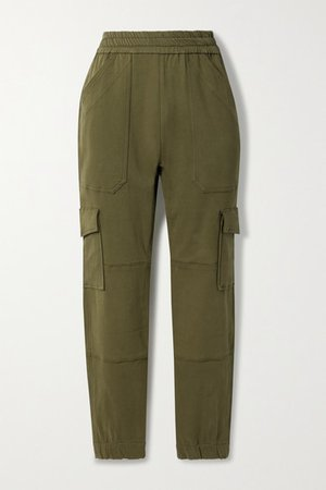 Cotton-twill Tapered Pants - Army green