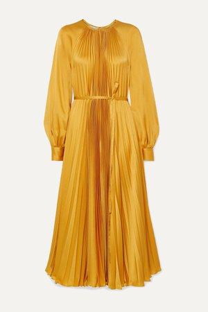 Saffron Pleated satin-crepe midi dress | Oscar de la Renta | NET-A-PORTER