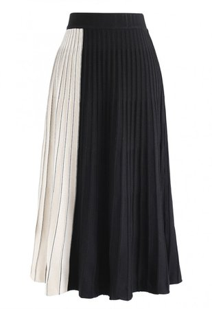 Contrast Pattern Pleated Knit Skirt in Black - Skirt - BOTTOMS - Retro, Indie and Unique Fashion