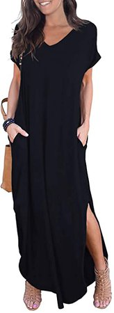 GRECERELLE Women's Casual Loose Pocket Long Dress Short Sleeve Split Maxi Dress Black X-Small at Amazon Women's Clothing store