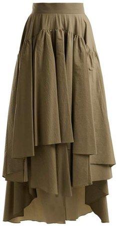 Layered Cotton Blend Midi Skirt - Womens - Tan