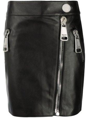 Moschino Zipped Leather Mini Skirt - Farfetch