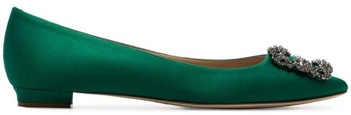 jade green Hangisi brooch embellished pumps