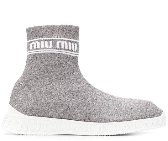 knitted Hi-top sneakers