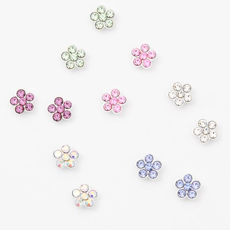 Silver Pastel Daisy Magnetic Stud Earrings - 6 Pack | Claire's US