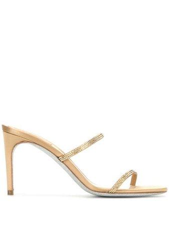 Gold René Caovilla rhinestone-embellished sandals - Farfetch