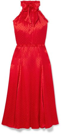 Polka-dot Silk-blend Jacquard Dress - Red