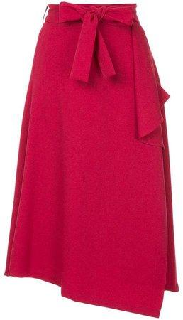 Loveless belted asymmetric skirt