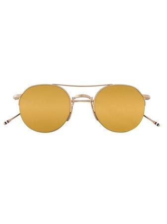 Thom Browne Eyewear Gold & Brown Aviator Sunglasses - Farfetch