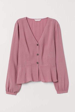V-neck Blouse - Pink