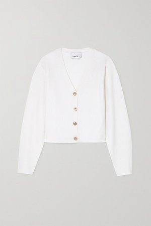 Ribbed Wool-blend Cardigan - White