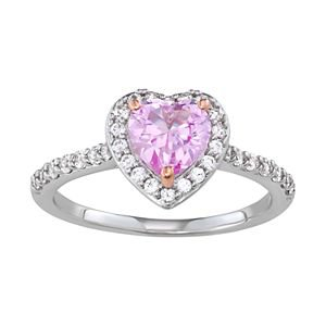 Sterling Silver Lab-Created Pink & White Sapphire Heart Ring | Kohls