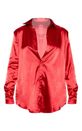 Red Satin Button Front Shirt | PrettyLittleThing USA