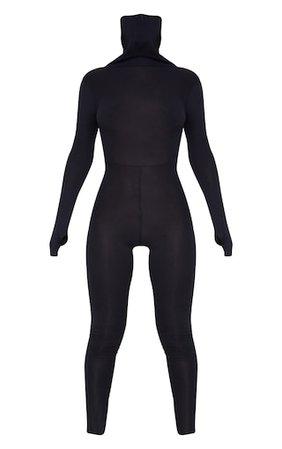 Black Long Sleeve Mask Jumpsuit   PrettyLittleThing USA