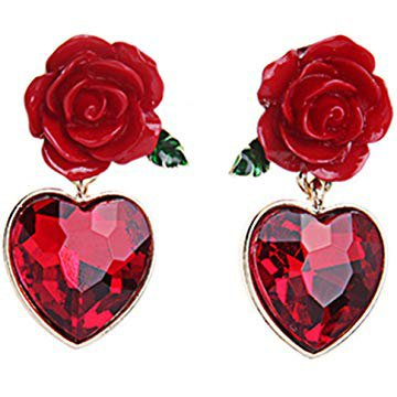 Red Rose heart earrings