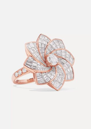 Rose gold Starburst Flower 18-karat rose gold diamond ring | Anita Ko | NET-A-PORTER